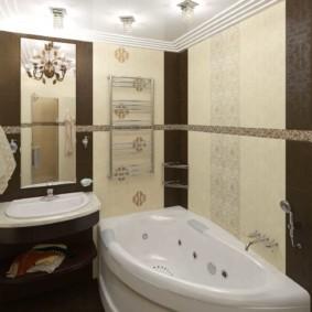 Угловая ванна белого цвета с гидромассажем