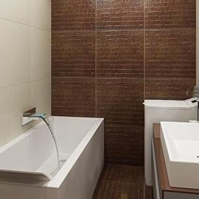Коричневая плитка в отделке ванной