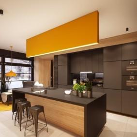 Шоколадные фасады кухонного гарнитура