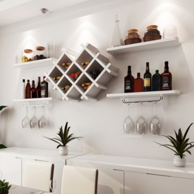 Полочки для винных бутылок в современной кухне