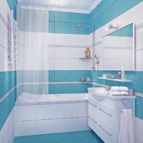 Бирюзовая плитка в интерьере ванной