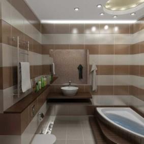 Коричневая плитка из керамики в ванной комнате
