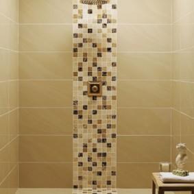 Лейка душа на фоне мозаики из керамики