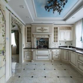 Фотопечать на кухонном потолке
