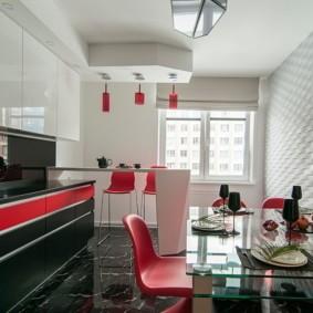 Акценты красного цвета в современной кухне