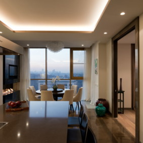 Встроенная подсветка двухуровневого потолка