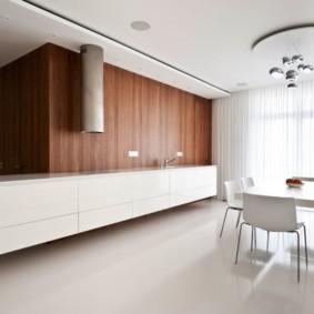Дизайн просторной кухни без навесных шкафов