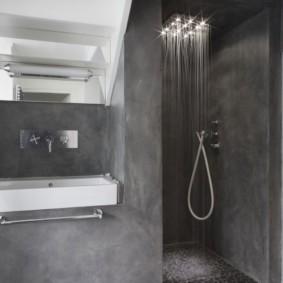 Серая ванная в стиле минимализма