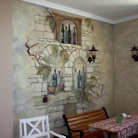 Фреска на стене кухни сельского дома