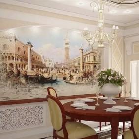 Декорирование стены в классической кухне-столовой