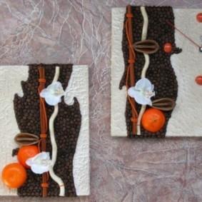 Модульные картины из кофейных зерен
