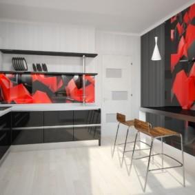 Абстракция в интерьере кухни минималистического стиля
