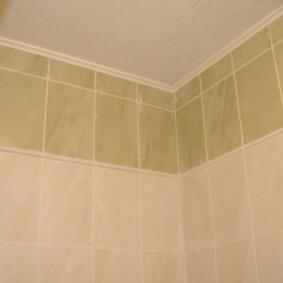 Полиуретановый плинтус на потолке в туалете