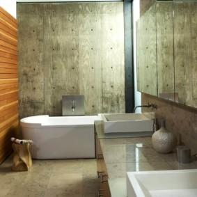 Деревянные панели в дизайне санузла