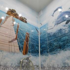 Фотопечать на морскую тему в интерьере ванной
