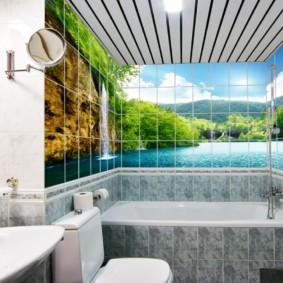 Фотопанно в интерьере ванной комнаты