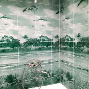 Морской берег на панелях в ванной