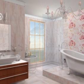 Дизайн ванной комнаты с окном до пола