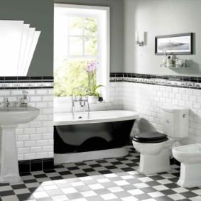Дизайн большой ванной комнаты в стиле арт-деко