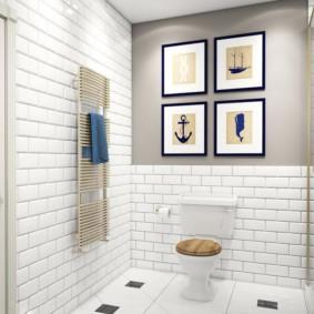 Декор туалета модульными картинами