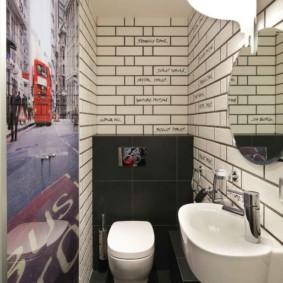 Фотообои в интерьере узкого туалета