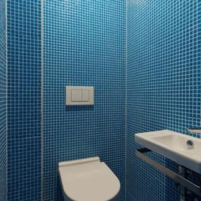 Синяя мозаичная плитка в маленьком туалете