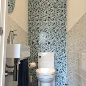 Мозаичная отделка торцевой стены туалета