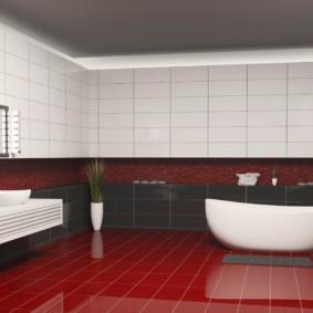 Белая ванна на красном полу
