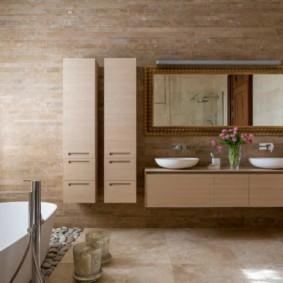 Подвесная мебель в интерьере ванной
