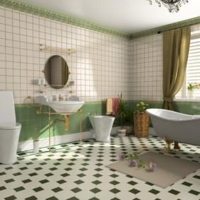 Серый коврик перед акриловой ванной