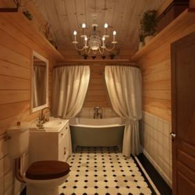 Люстра на деревянном потолке в ванной комнате