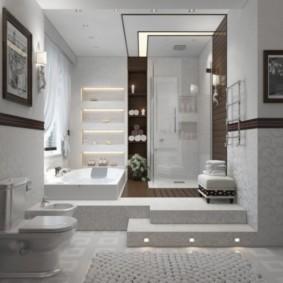 Дизайн ванной комнаты с подиумом