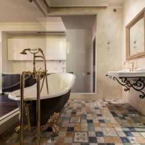 Ретро-смеситель из латуни в ванной стиля прованс