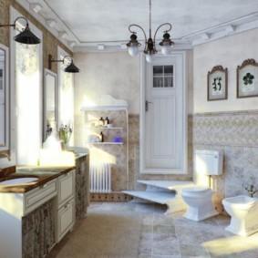 Люстра на потолке ванной в частном доме