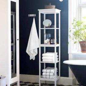 Пластиковая стойка с полками для ванной комнаты