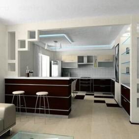 Бежевый пол в кухне-гостиной