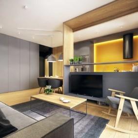 Серые панели в интерьере кухни-гостиной
