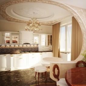 Лепнина в интерьере кухни-гостиной