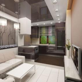 Дизайн комнаты с серым потолком
