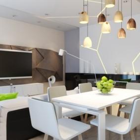 Акценты зеленого цвета в кухне гостиной стиля минимализм