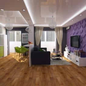 Дизайн кухни-гостиной с натяжным потолком