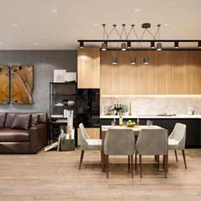 Подсветка рабочих поверхностей в кухне-гостиной