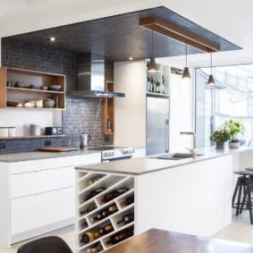 Зонирование кухни потолочным покрытием