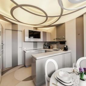 Сферический потолок кухни в современном стиле