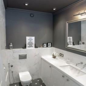 Интерьер туалета в оттенках серого цвета
