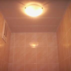 Пластиковый потолок в туалетной комнате