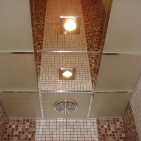 Зеркальные панели на потолке туалетной комнаты