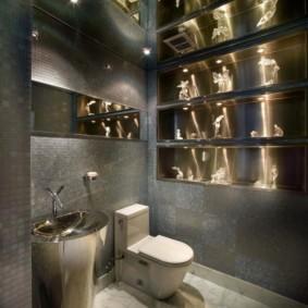 Декор туалета нишами с подсветкой