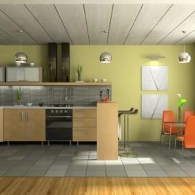 Кухонные стулья с оранжевыми спинками