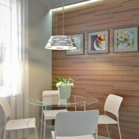 Дизайн обеденной зоны со стеклянным столом